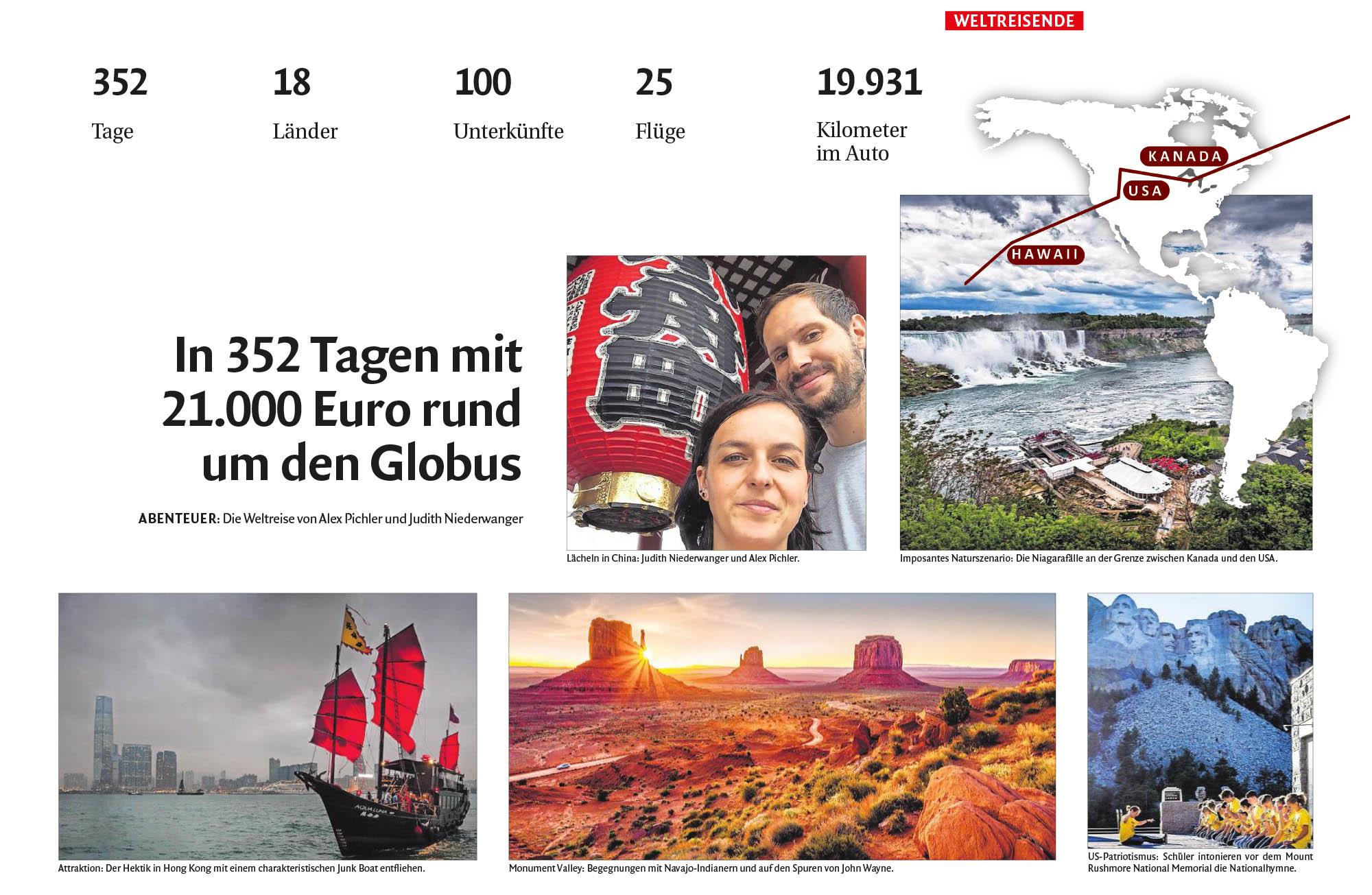 Roter Rucksack in der Dolomiten Zeitung