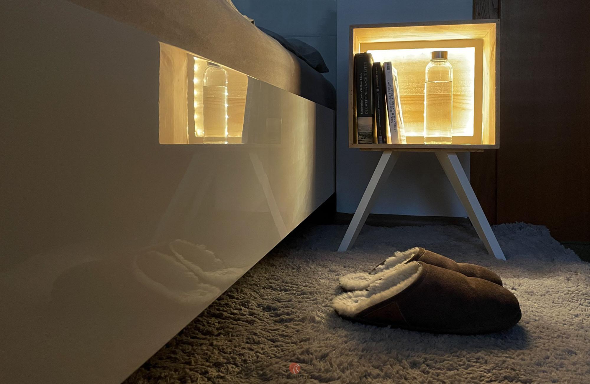 DIY Nachttisch mit LED-Beleuchtung selber bauen